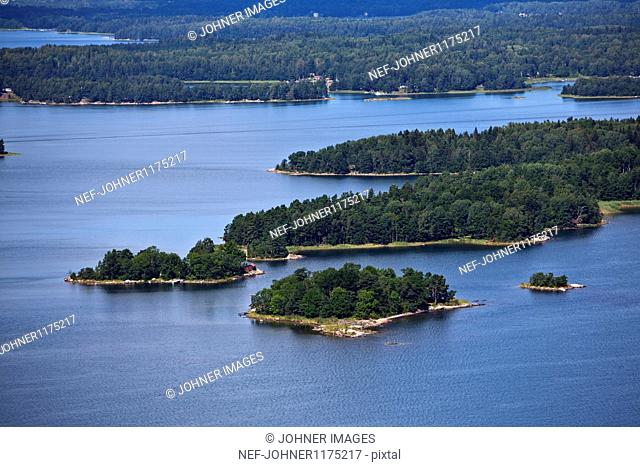 Aerial view of landscape with small islands