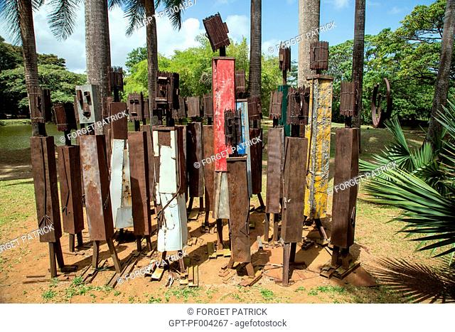 CONTEMPORARY ART SCULPTURE, LET'S ADVANCE TOGETHER BY LUZ SEVERINO, TROPICAL GARDEN OF THE HABITATION CLEMENT, OLD RUM DISTILLERY, LE FRANCOIS, MARTINIQUE