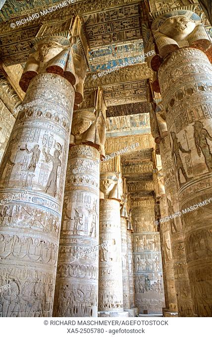 Hathor-headed Columns, Hypostyle Hall, Temple of Hathor, Dendera, Egypt