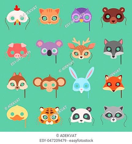 Animals vector carnival kids mask set festival decoration masquerade. Party costume cute cartoon animals face head carnival mask
