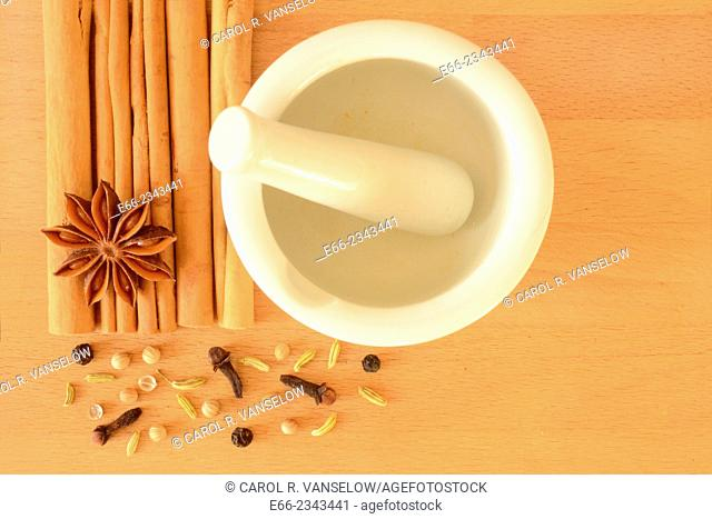 Although this spice melange is usually called Chinese Five Spice, it usually consists of 6-8 spices: cinnamon, star anise, black pepper, fennel