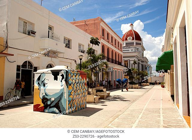 Street leading to the Parque Jose Marti with the Ayuntamiento- City Hall at the background, Cienfuegos, Cienfuegos Province, Cuba, West Indies, Central America