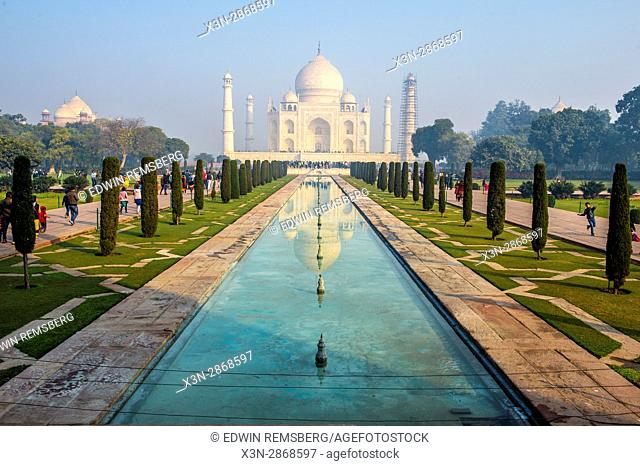 View of the Taj Mahal from one of the property's formal gardens, located in Agra, India. Agra, India