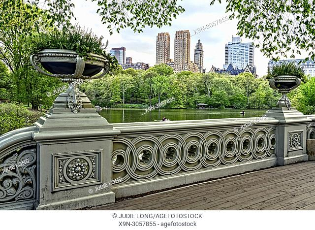 Central Park, Manhattan, New York City. Looking Over the Lake to Central Park Weet Skyline from Bow Bridge