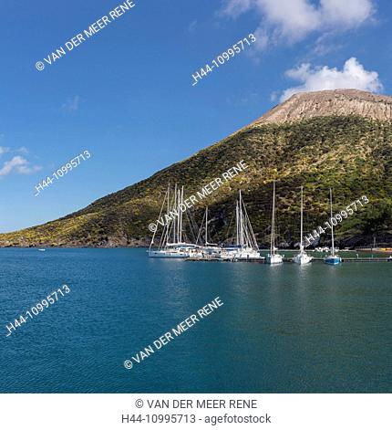 Sailing ships at anchor near the volcano Gran Cratere