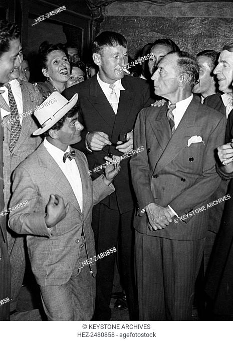 Actorss Buster Keaton (1895-1966), Maurice Baquet (1911-2005) and Bourvil (1917-1970), c1950s(?)