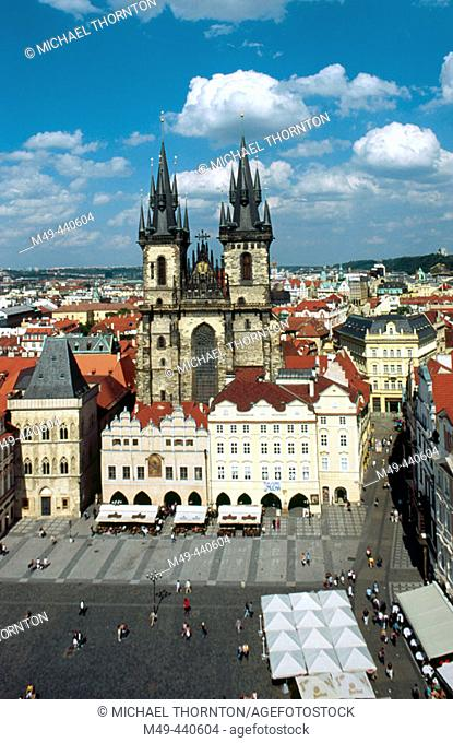 View from old Town Hall Tower. Church of Our Lady Before Tyn. Prague. Czech Republic