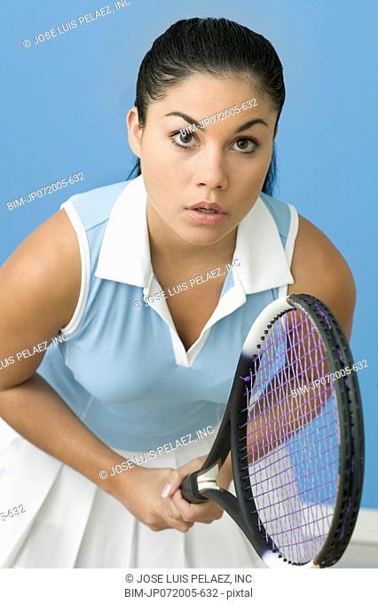 Teen girl ready to play tennis