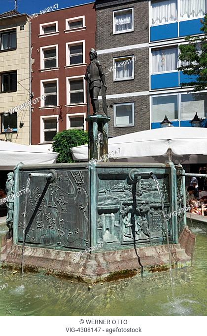 D-Neuss, Rhine, Lower Rhine, North Rhine-Westphalia, market place, market well with sculpture Hermann von Hessen, archbishop of Cologne
