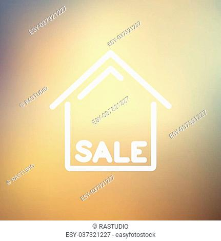 Sale sign icon thin line for web and mobile, modern minimalistic flat design. Vector white icon on gradient mesh background