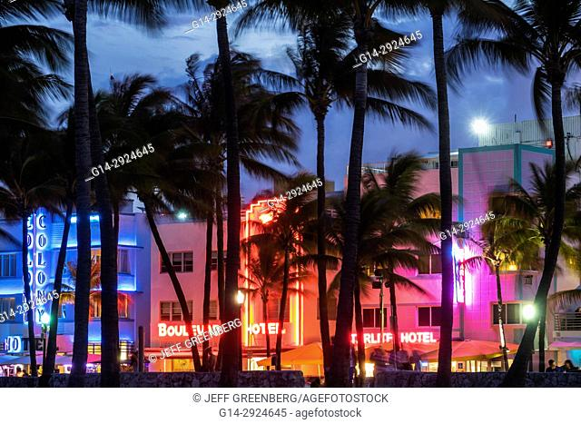 Florida, Miami Beach, Ocean Drive, Art Deco District, Lummus Park, hotels, neon signs, palm trees, dusk, night nightlife, Colony Boulevard Starlite, hotel