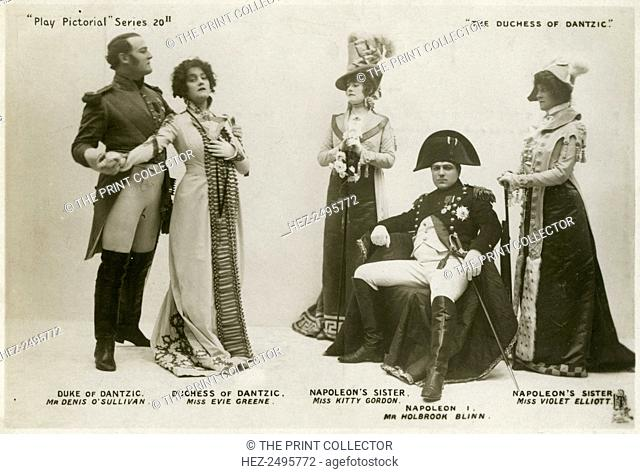 Members of the cast of The Duchess of Dantzic, c1903. Denis O'Sullivan as the Duke of Dantzic, Evie Greene as the Duchess of Dantzic