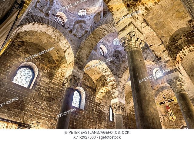 Interior of the 12th century chapel of San Cataldo in the Piazza Bellini, Central Palermo