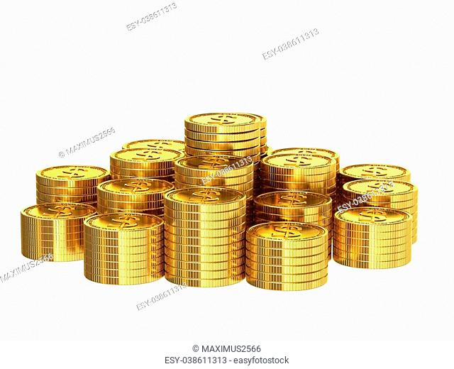 A stack of golden coins isolated on white background