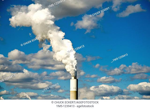 Smokestack blowing smoke in Southern Wisconsin, USA