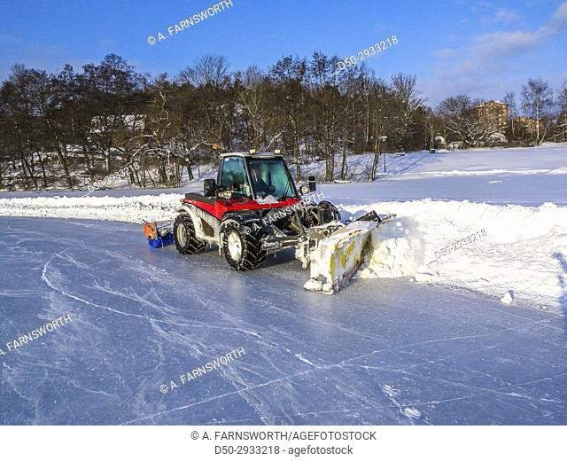 STOCKHOLM, SWEDEN Winter plowing on lake for ice skating