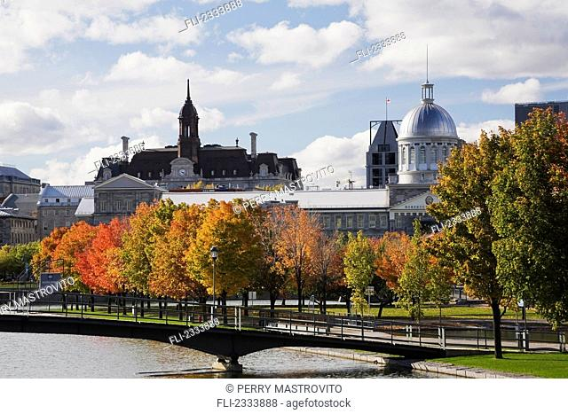 Footbridge over the Bonsecours Basin with Bonsecours Market and City Hall; Old Montreal, Quebec, Canada
