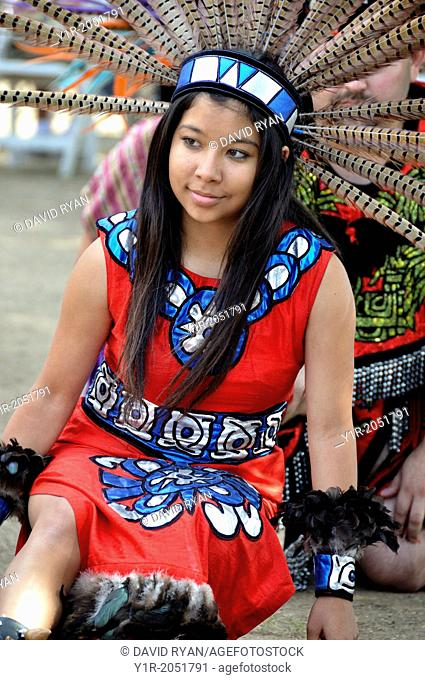 Cupa Day Festival, Pala Indian Reservation, Aztec dance troup, girl in aztec regalia