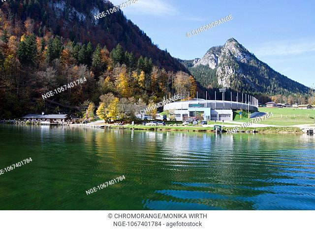 Bobsleigh track of Koenigssee, Schoenau am Koenigssee, Berchtesgadener Land, Upper Bavaria, Bavaria, Germany, Europe