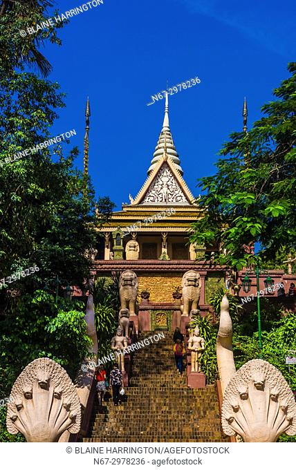 Wat Phnom is a sacred Buddhist pagoda prominently sitting atop a small hill (at 89 feet it is the highest point in the city) in the Cambodian capital city of...
