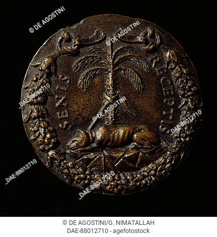 Medal with Gian Giacomo Medici, known as the Medeghino (1498-1555), reverse with a dog tied to a tree, designed by Francesco Sangallo (1494-1576)