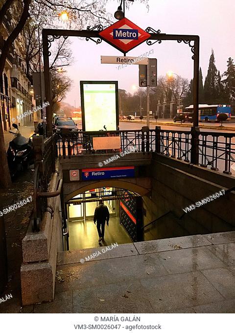 Metro Retiro entrance at dawn. Madrid, Spain