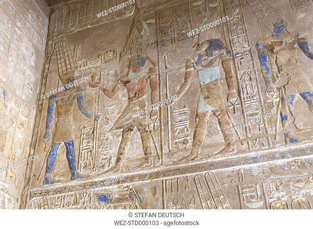 Egypt, Luxor, wall with hieroglyphs at Karnak temple