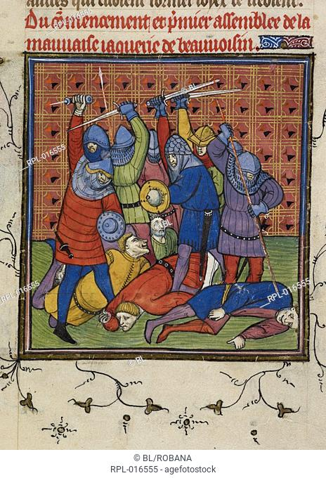 Violence against French nobility, Miniature Outbreak of violence by the Jacquerie against the nobility of France. Image taken from Chroniques de France ou de St...