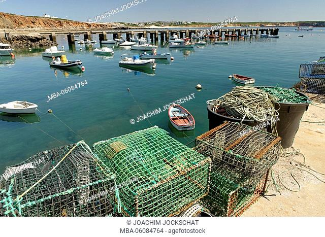 Harbor with fishing boats and lobster baskets in Sagres, Faro, Algarve, Portugal