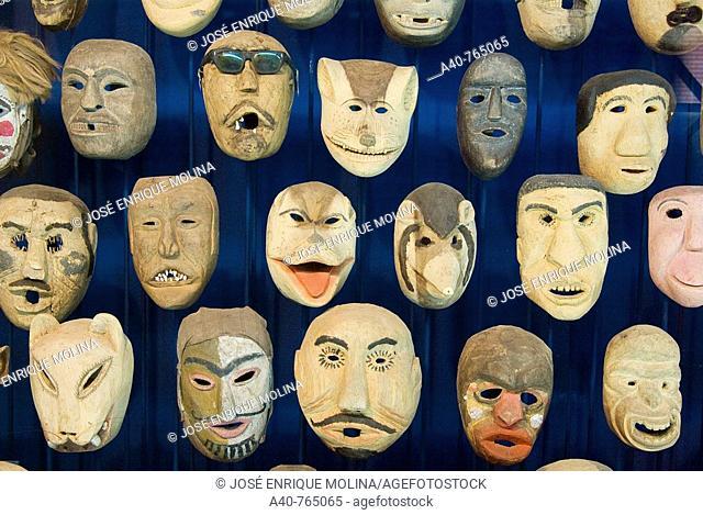 Paraguay. Asunción city. Museum of Barro.Colección Paraguayan traditional wooden masks