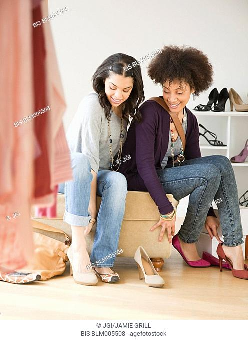 Friends shopping for shoes