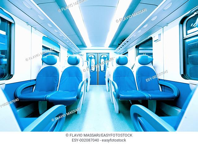 Inside a train without persons