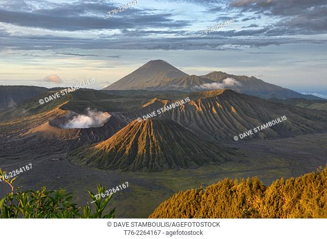 Mount Bromo and Bromo Tengger National Park at sunrise, East Java, Indonesia