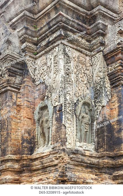 Cambodia, Angkor, Roluos Temple Group, Preah Ko Temple, detail