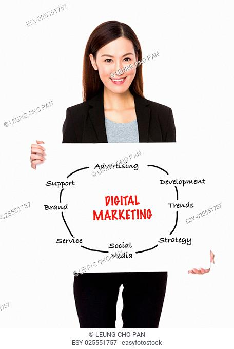 Confident businesswoman holding a poster showing with digital marketing concept