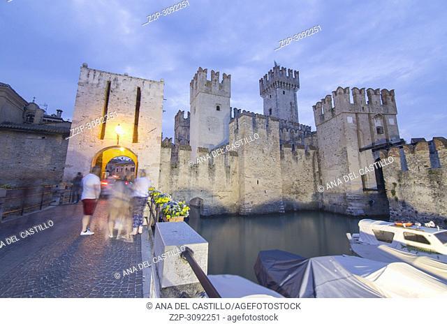 Twilight in Roca scaligera the castle in Sirmione, Garda lake, Lombardy, Italy