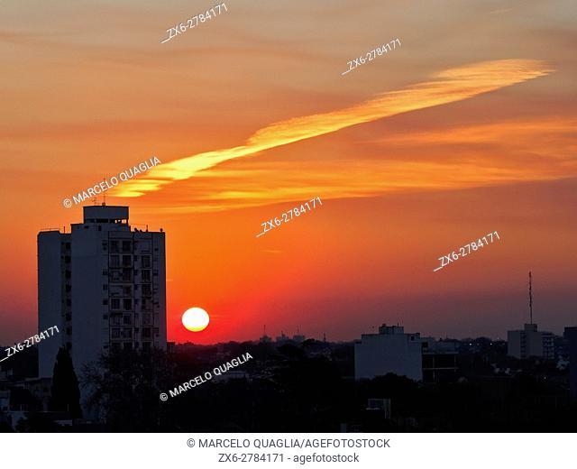 Orange sunset at Vicente Lopez District. Buenos Aires Metropolitan Area, Argentina