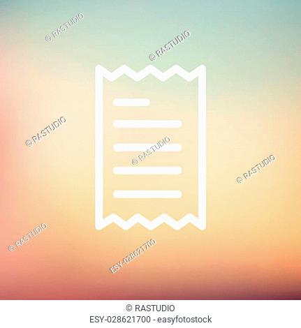 Paper with lines icon thin line for web and mobile, modern minimalistic flat design. Vector white icon on gradient mesh background