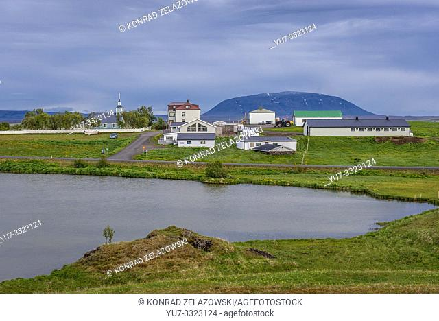 Skutustadir village seen from Skutustadagigar pseudocraters area located on the remaining wetlands of the Lake Myvatn area in Iceland