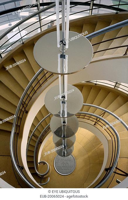 De La Warr Pavilion. Interior view looking down the spiral stairway