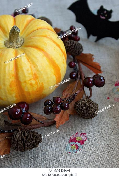 Pumpkin in a wreath and a bat