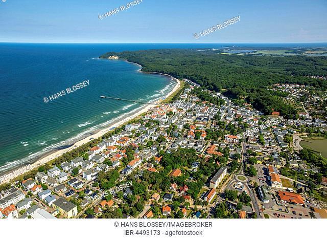 Beach with baltic seaside resort Binz, Baltic coast, Mecklenburg-Western Pomerania, Germany