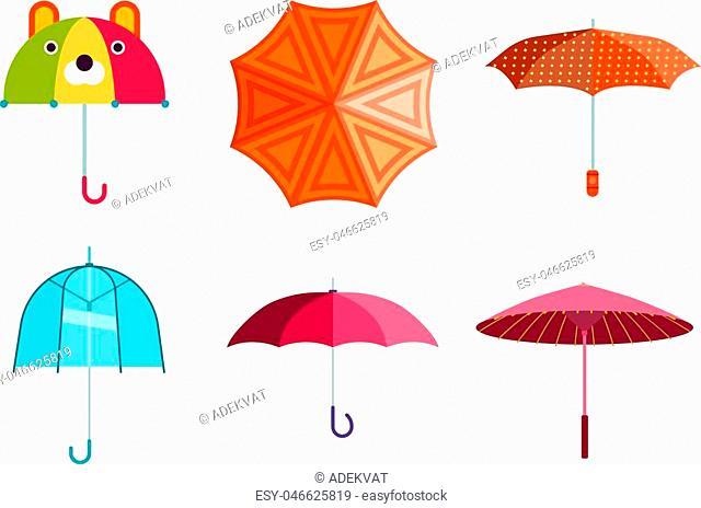 Set of cute multi colored umbrellas in flat design style. Autumn accessory concept fashion umbrella. Colorful flat collection comfort umbrella outdoor element