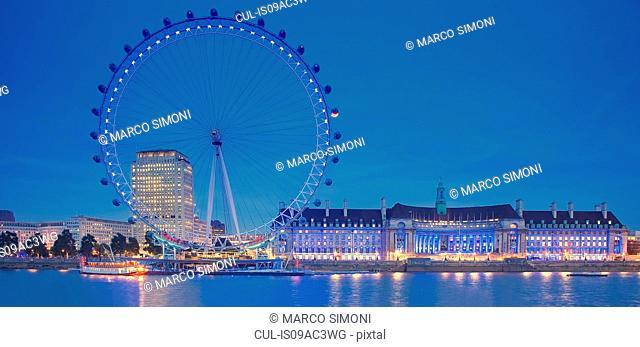 London eye at night, London, UK