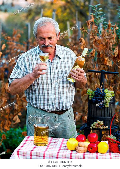 Wine expert smelling athe product of the last year after harvest