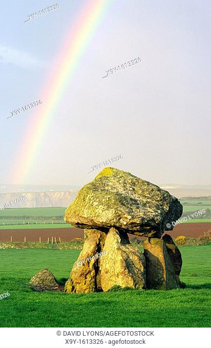 Carreg Sampson prehistoric Neolithic megalithic dolmen cromlech ancient tomb between Fishguard and St  Davids in Dyfed, Wales