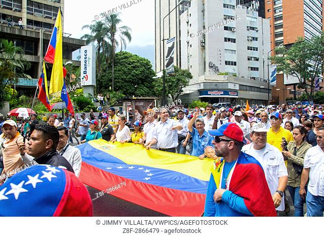 MUD (Bureau of Unity) marches along with thousands of Venezuelans against the Constituent Assembly in Caracas. May, 8. 2017