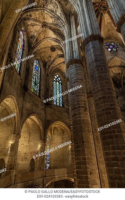 Interior of Santa Maria del Mar, the most beautiful gothic church in Barcelona