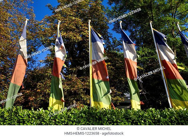 France, Alpes de Haute Provence, Digne les Bains, tibetan prayer flags of Samten Dzong, home and headquarters of the Cultural Centre Alexandra David Neel...