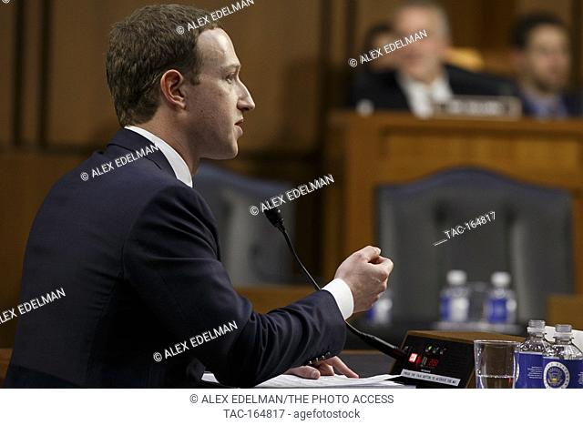 Facebook CEO Mark Zuckerberg testifies before the United States Senate on Capitol Hill in Washington, DC on April 10, 2018